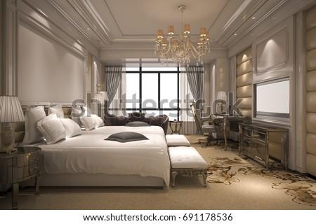 3d rendering luxury modern bedroom suite in hotel with golden decor - Luxury Modern Bedrooms