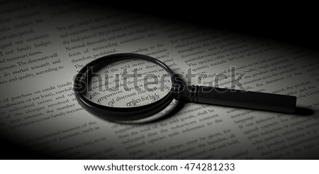 3d rendering magnifier glass on a newspaper