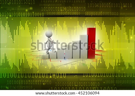 3d rendering man running toward the top of the colorful business graph - stock photo