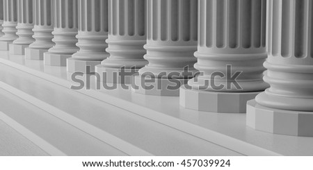 3d rendering marble pillars row with steps