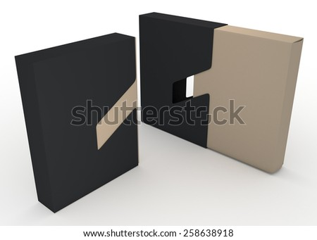 3D Rendering Matte Black and Original Brown Packaging Container Design 2 Piece, Jacket Case Cover Sliding Function in Isolated background with Work Paths, Clipping Paths Included. - stock photo