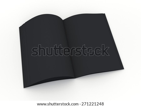 3D Rendering Matte Black Opened Mock up catalog or magazine isolated with Work Paths, Clipping Paths Included.  - stock photo
