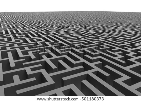 3d rendering maze, close up look at grey maze template, labyrinth for business concept or education, isolated on white background