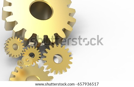 3D rendering , Metal engineer gold gears on the left side and copy space. Industrial 4.0 , Cyber Physical Systems , Hi-tech, engineering, digital telecoms concept for background.