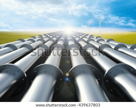 3d rendering metal pipeline with green field and blue sky background