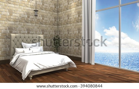 3d rendering minimal bedroom with brick wall and sea view - stock photo