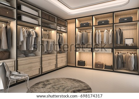 Nice 3d Rendering Minimal Loft Luxury Wood Walk In Closet With Wardrobe