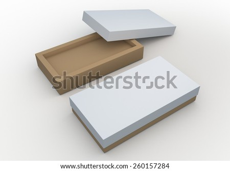 3D Rendering Mock Up Clean White and Original Brown Box, packaging Design for Candy, Snack in Isolated Background with Work paths, Clipping paths Included. - stock photo