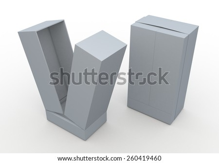 3D Rendering Mock Up Clean White Box and  Ribbon New Design for Vertical Product in Isolated Background with Work Paths, Clipping Paths Included. - stock photo