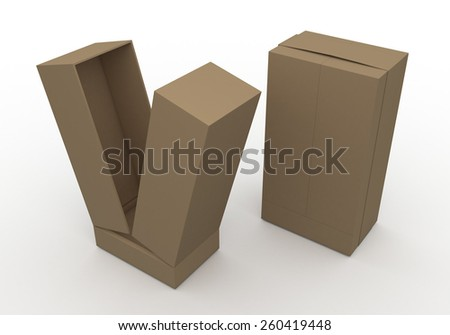 3D Rendering Mock Up Original Brown Box and  Ribbon New Design for Vertical Product in Isolated Background with Work Paths, Clipping Paths Included. - stock photo