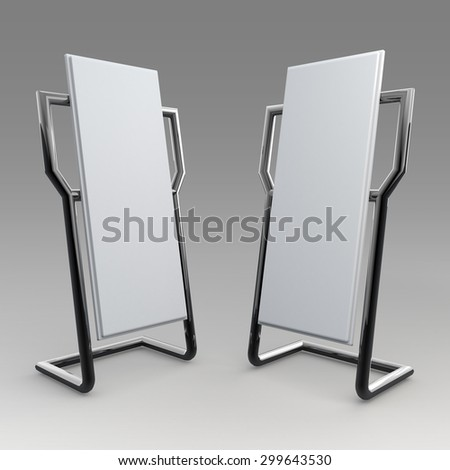 3D Rendering Mock Up Template Advertising and Aluminum Stand Design for POS, POI in Isolated Background with Work Paths, Clipping Paths Included. - stock photo