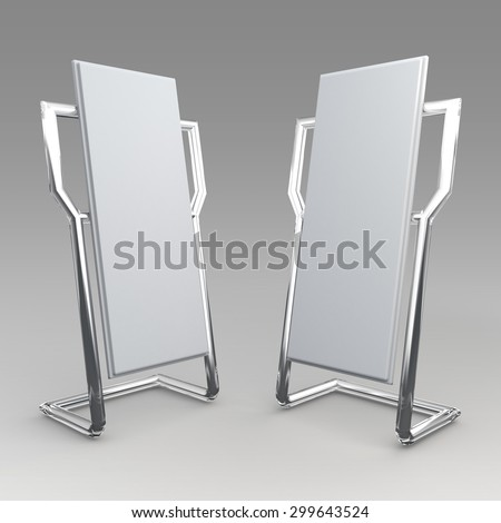 3D Rendering Mock Up Template Advertising and Transparent Stand Design for POS, POI in Isolated Background with Work Paths, Clipping Paths Included. - stock photo