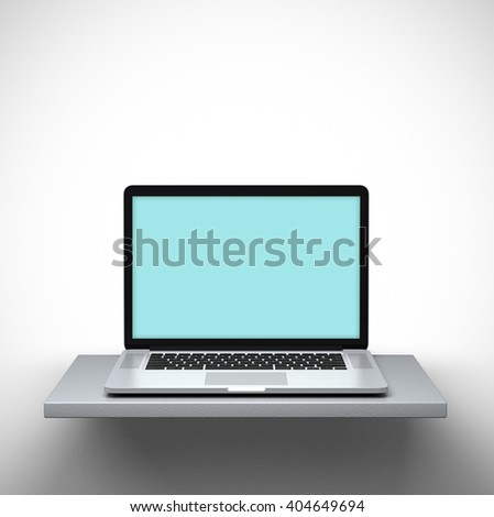 3D rendering - Mockup of open laptop on a shelf. Clipping path for display included. - stock photo
