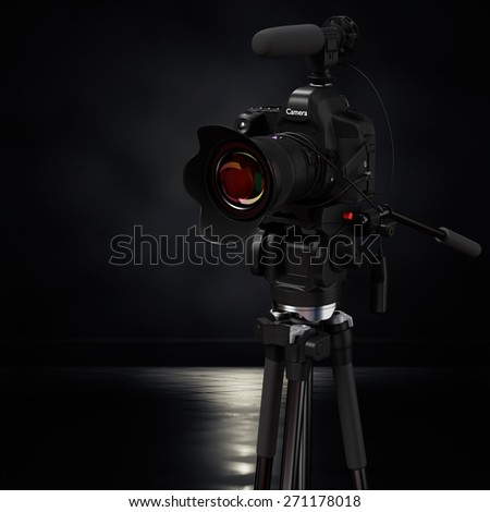 3d rendering model digital cameras in a dark background. - stock photo
