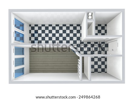 3D rendering. Model of the one-room apartment, tile and parquet. The empty apartment without furniture, bathroom equipment and finishing.  - stock photo