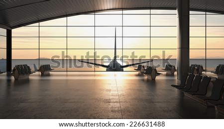 3d rendering. Modern airport passenger terminal. Empty hall interior with ceramic floor to ceiling windows and scenic background. Empty seats in the departure lounge at the airport - stock photo