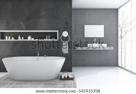 3d rendering modern and loft style bathroom with nice winter view