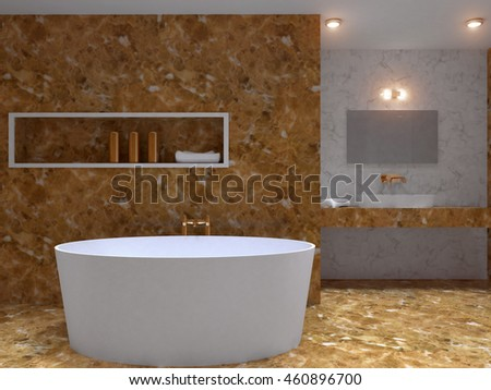 3D-rendering modern bathroom in a big house