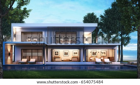3d Rendering Modern House Pool Villa Stock Illustration 592062722