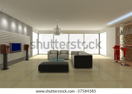 3d rendering modern living room