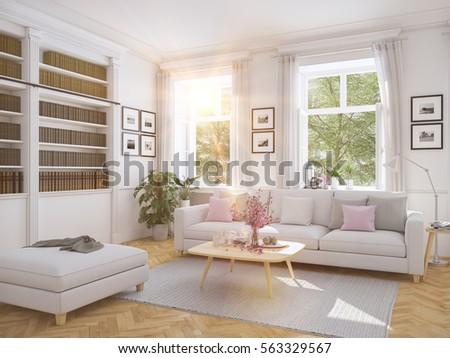 3d Rendering. Modern Living Room In Townhouse. Part 90