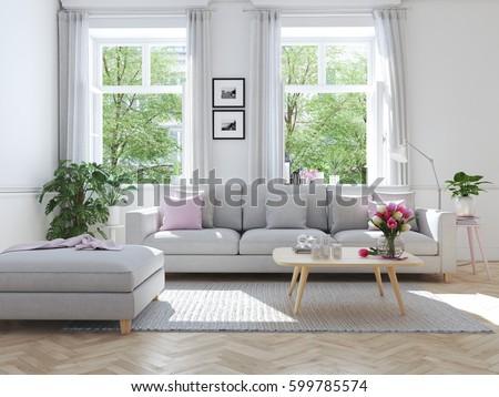 3d Rendering. Modern Living Room In Townhouse. Part 95