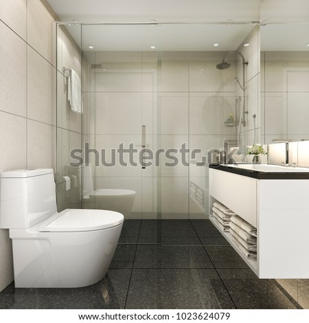 3d Rendering Modern Minimal Toilet And Shower