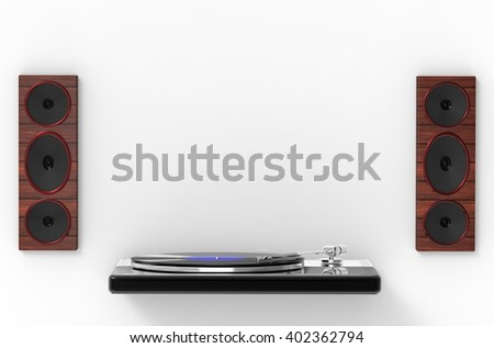 3D rendering Modern Stereo Turntable Vinyl Record Player isolated with white - stock photo