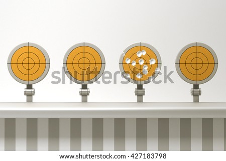 3d rendering Multiple targets - stock photo
