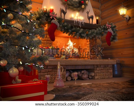 3D rendering New year interior with Christmas tree, presents and fireplace in the house from a log. Postcard decorated christmas tree. New year 2017