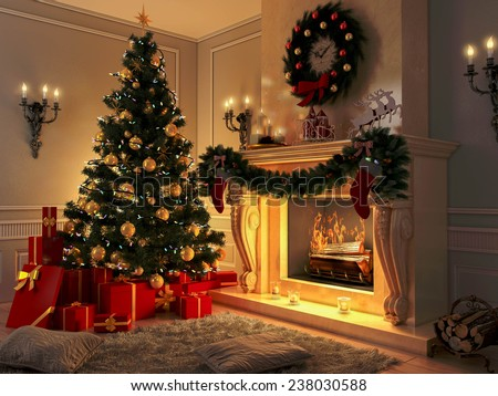 3D rendering New year interior with Christmas tree, presents and fireplace. Postcard.  - stock photo
