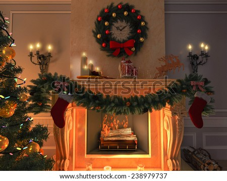 3D rendering New year interior with Christmas tree, presents and fireplace. Postcard.