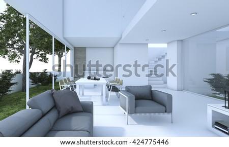 nice living rooms. 3d rendering nice living room with small garden Rendering Nice Living Room Small Stock Illustration 424775446