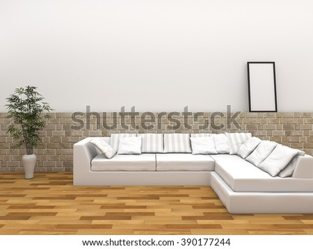 3d rendering nice parquet room with comfortable sofa - stock photo