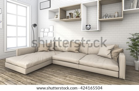 3d rendering nice sofa in small brick living room - stock photo