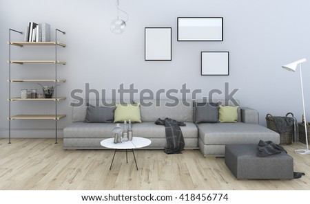 3d Rendering Nice Vintage Grey Living Room With Furniture
