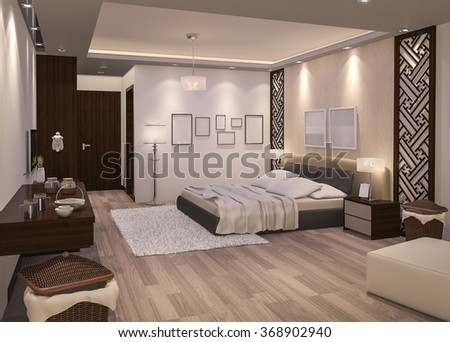 3d rendering night bedroom with parquet floor