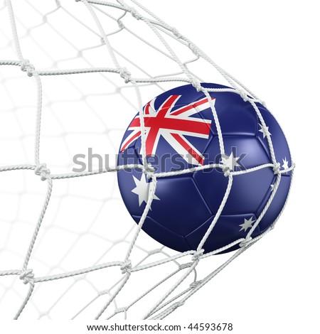 3d rendering of a Australian soccer ball in a net - stock photo
