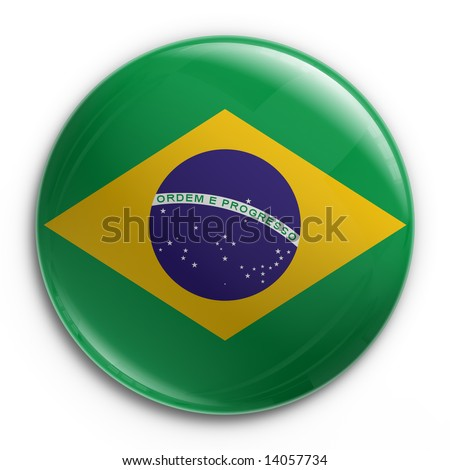 3d rendering of a badge with the Brazilian flag