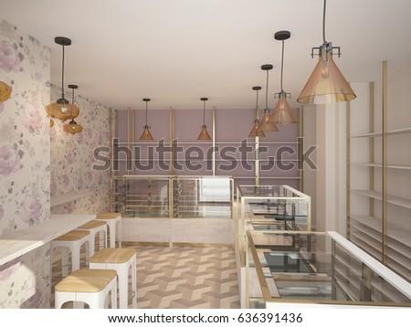 3d Rendering Of A Bakery Shop Interior Design