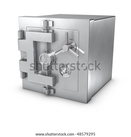 3d rendering of a bank safe - stock photo