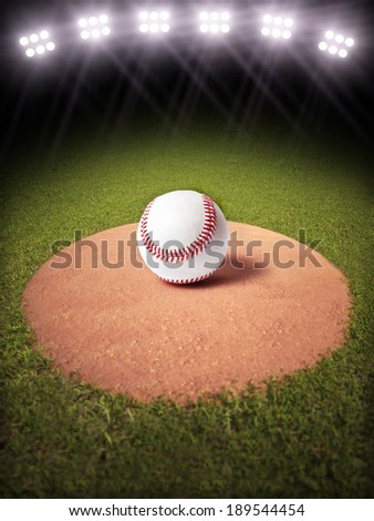 3d rendering of a Baseball on a pitchers mound of Lighted Baseball field. Room for text or copy space. More sports backgrounds available in my profile. - stock photo