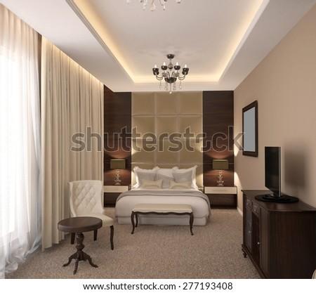 3d rendering of a bedroom interior design - stock photo