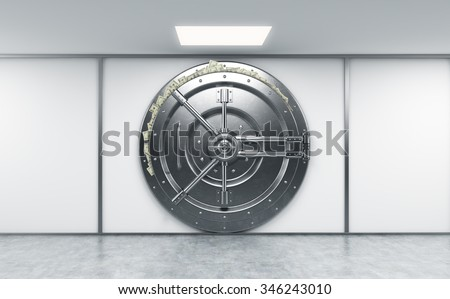 3D rendering of a big locked round metal safe in a bank depository with dollars stuck out from behind the door,  a concept of abundance,  front view - stock photo