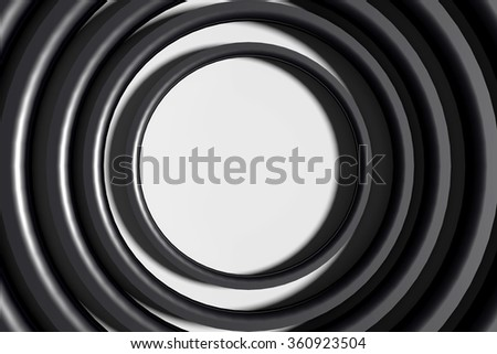 3d rendering of a black  three-dimensional circles on white background.From above - stock photo