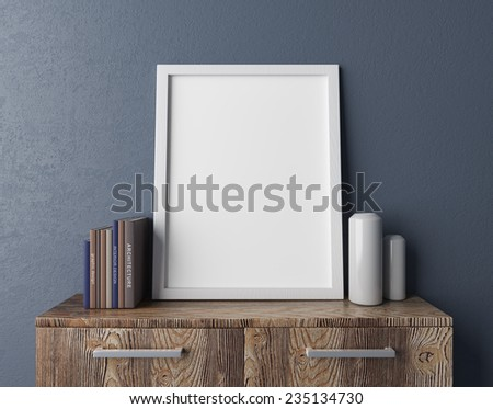 3D rendering of a blank white frame with books and vases on a wooden chest - stock photo