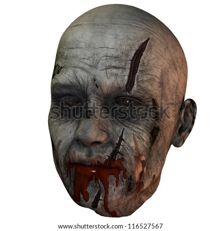 3D rendering of a bloody zombie head