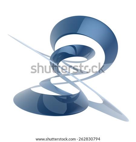 3D rendering of a blue elegant swirling element - stock photo
