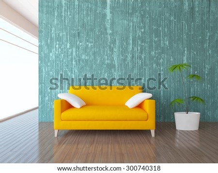 3D rendering of a blue interior with a yellow sofa - stock photo