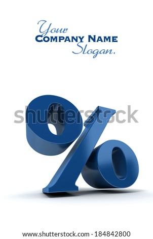 3D rendering of a blue percentage sign - stock photo